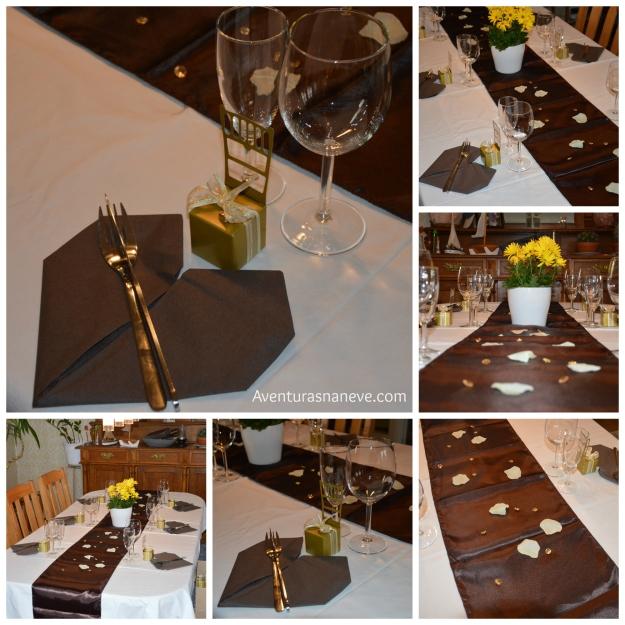Testes de arrumação e decoração da mesa do jantar do casamento.